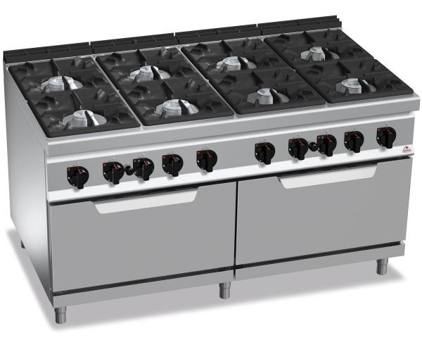 Professionelle Gastronomie Gasherd 8 Brenner mit 2x Gasbackofen 84,6kWkW HIGH POWER