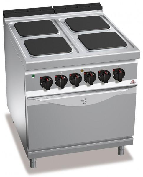 Bertos 4 Platten Elektroherd mit Backofen Leistung 21,5kW der Serie 900er