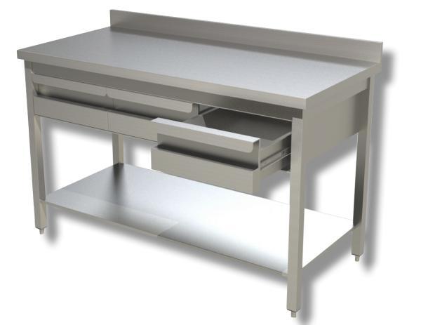Gastro Arbeitstisch Edelstahl mit 3 Schubladen und Aufkantung B 1400 x T 700 x H 850 mm