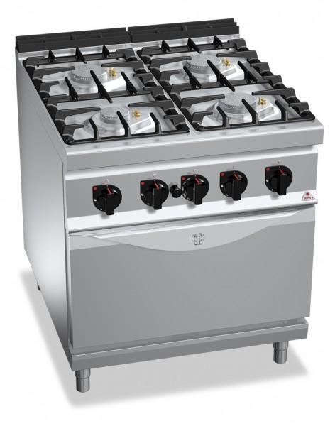 Gastronomie Gasherd mit Gasbackofen ECO-POWER 39,8kW mit Pilotflamme