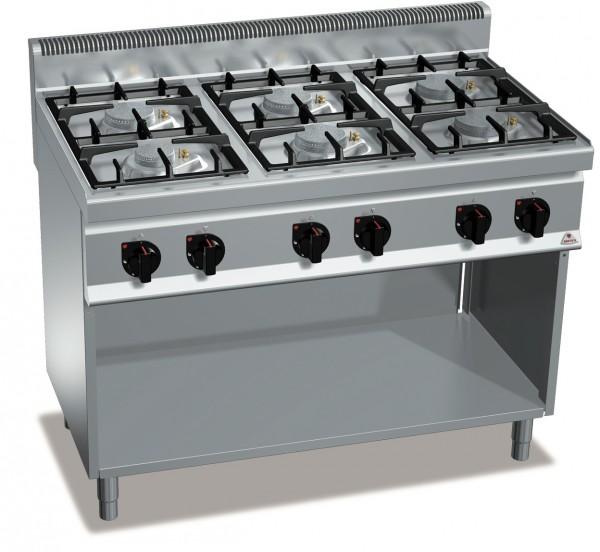 Gastro Gasherd ohne Backofen als Standgerät mit 6 Flammen aus Serie ECO-Power 33,5kW