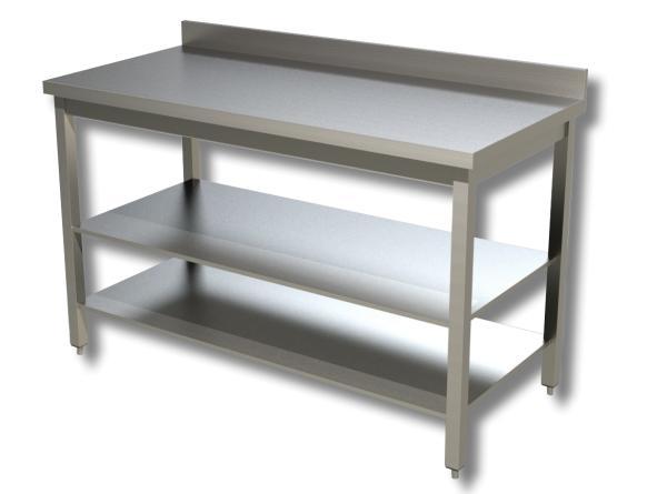 Gastro Arbeitstisch Edelstahl mit Boden und Aufkantung B 1800 x T 700 x H 850 mm