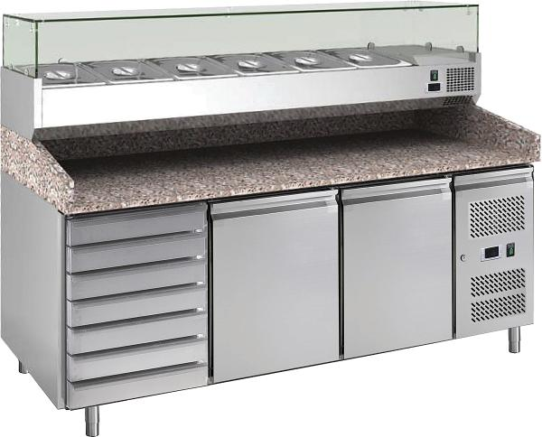 Pizzakühltisch mit Kühlaufsatz für GN1/3