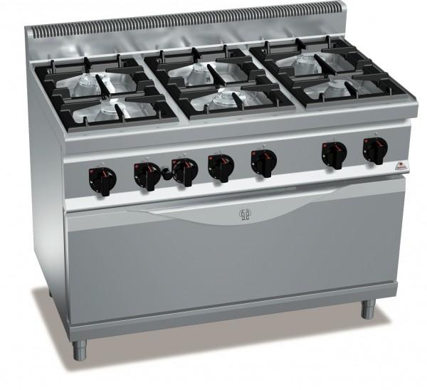 Gastronomiebedarf Gasherd mit Gasbackofen mit 6 Doppelring Brenner und Grosse Backraum 43,5kW