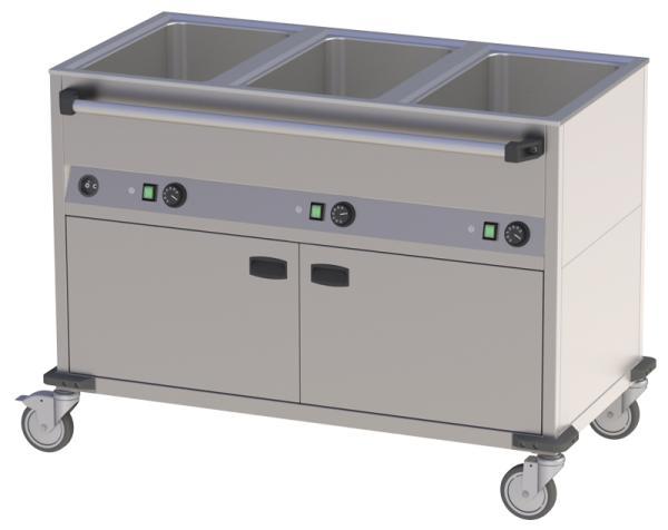 Speisen-Ausgabewagen mit Schrank 3 x GN1/1 längseitig