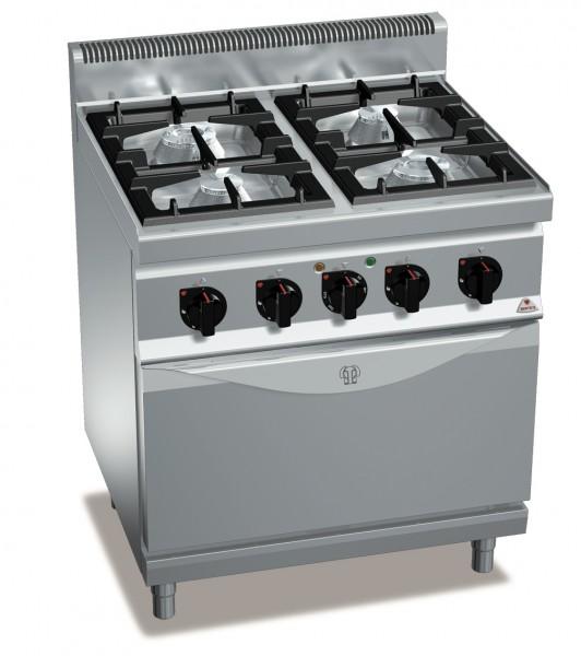 Gastronomie Gasherd mit 4 Brenner und Umluft-E-Backofen High-Power