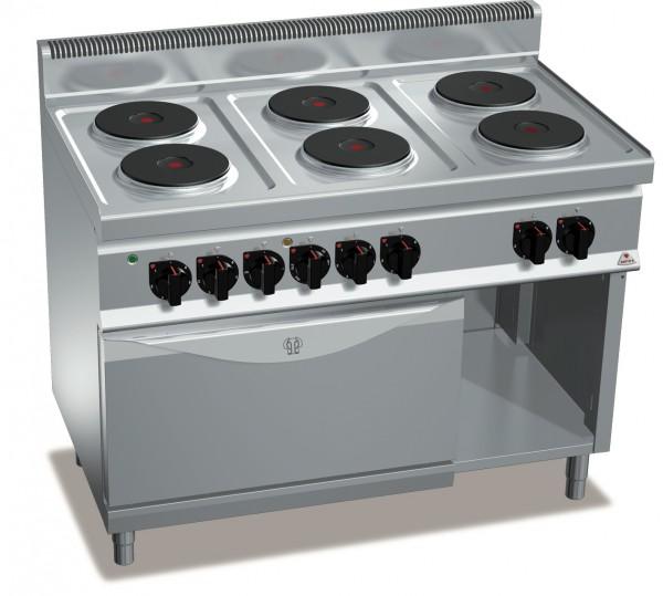 Bertos Gastro 6 Platten Elektroherd mit Backofen Leistung 23,1kW