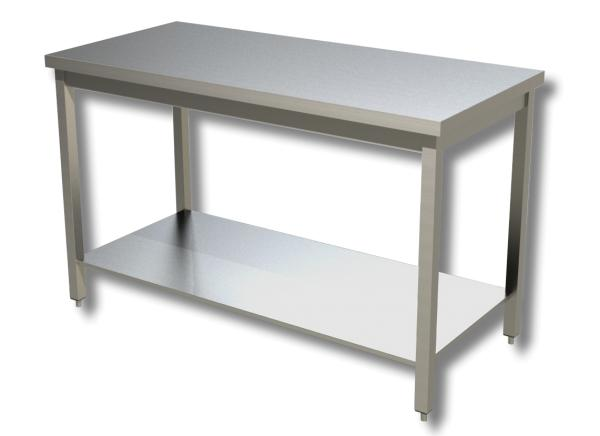 Gastro Arbeitstisch Edelstahl mit Boden B 1800 x T 700 x H 850 mm