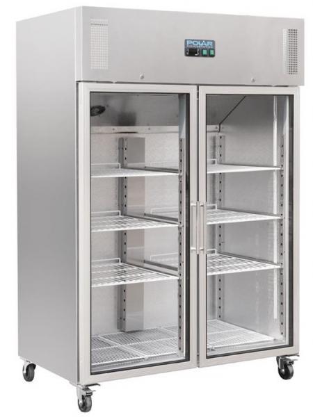 Gewerblicher Kühlschrank 1200 Liter mit Glastür aus Edelstahl