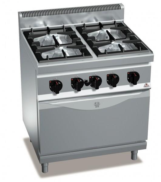 Gastronomiebedarf 4 Brenner mit Gasbackofen 35,8kW