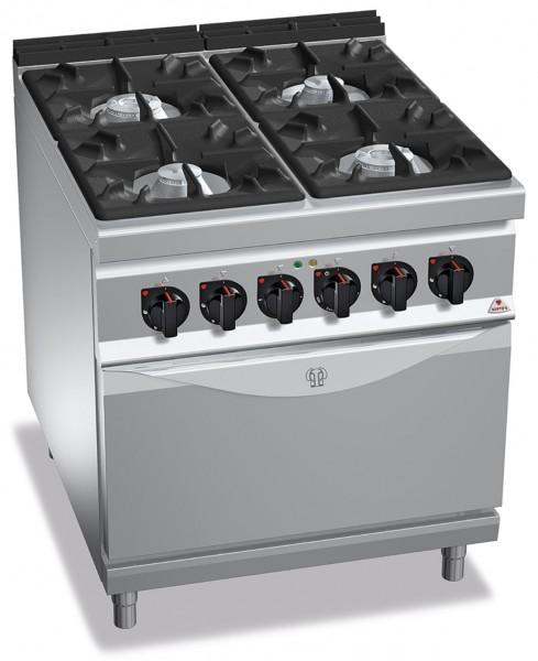 Professionelle Gastronomie Gasherd 4 Brenner mit Elektrobackofen 7,5kW und Gas 34,5kW HIGH POWER
