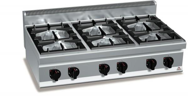 Gastro Gasherd mit 6 Flammen als Tischgerät der Serie 700er ECO-POWER Leistung 33,5kW