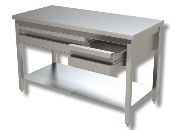 Gastro Arbeitstisch Edelstahl mit 3 Schubladen B 1400 x T 600 x H 850 mm