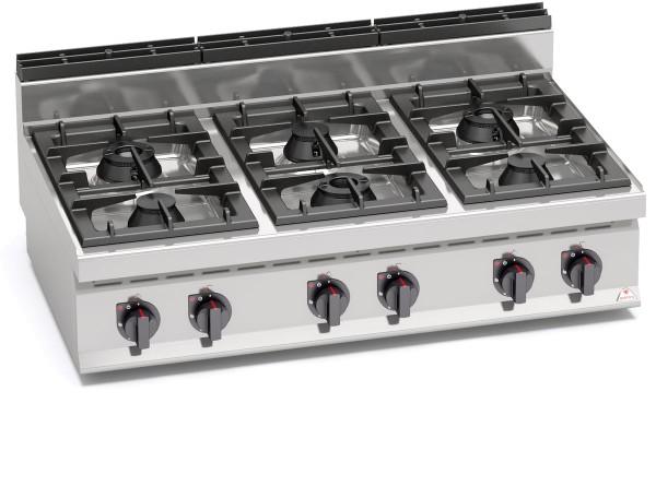 Gastro Gasherd mit 6 Brenner als Tischgerät der Serie 700er HIGH-POWER Leistung 31,5kW