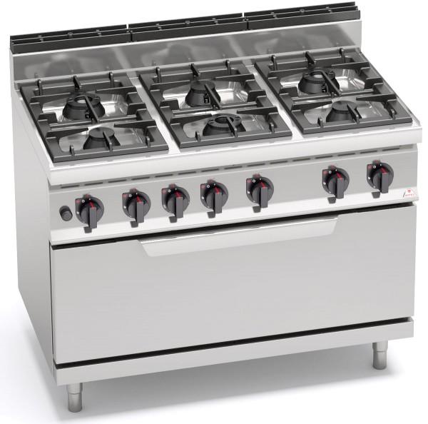 Bertos Gastro Gasherd mit 6 Flammen und Gasbackofen 54 kW MAX POWER