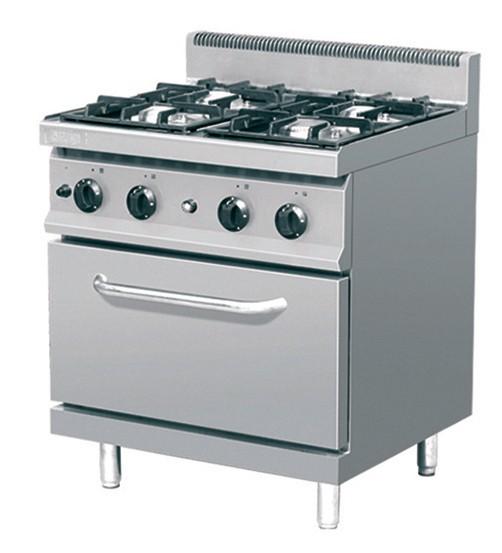 TOP Angebot Großküchen 4 Flammen Gasherd mit Gasbackofen Leistung 24,8 kW mit Pilotflamme