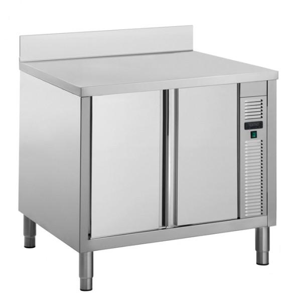 Gastro Wärmeschrank aus Edelstahl mit Schiebetüren und Aufkantung B 1000 x T 700 x H 850 mm
