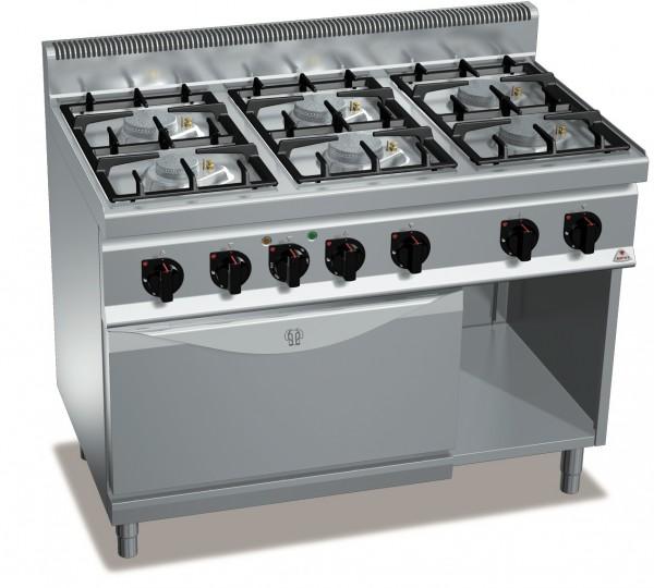 Gastro Gasherd mit 6 Flammen und Elektro Backofen Serie ECO-POWER Gastrotecno