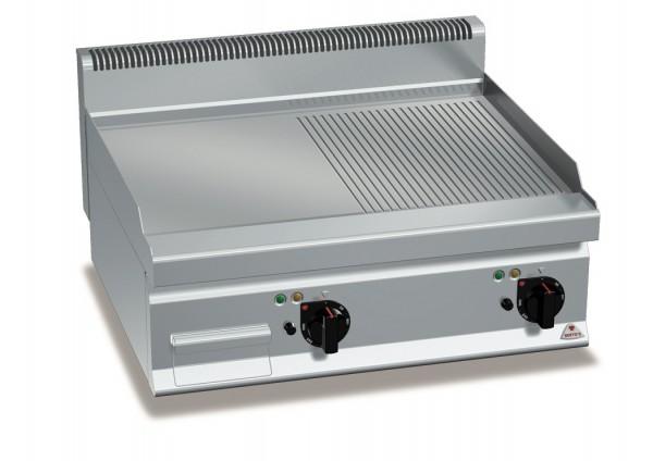 Gastro Gasgrill Glatte/Gerillte Bratplatte Tischgerät 13,8kW