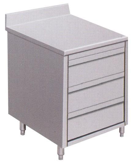 Gastro Schubladenblock Edelstahl mit 3 Schubladen und Aufkantung B 500 x T 700 x H 850 mm