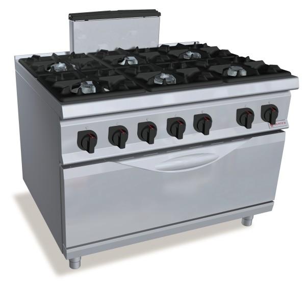 Professionelle Gastronomie Gasherd 6 Brenner mit Gasbackofen 84kW Serie S900