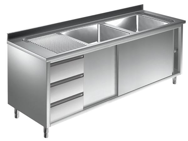 Gastro Spülschrank Edelstahl 2 Becken rechts mit 3 Schubladen B 1400 x T 700 x H 850 mm
