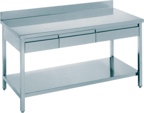 Gastro Arbeitstisch Edelstahl mit 3 Schubladen und Aufkantung B 1500 x T 700 x H 850 mm