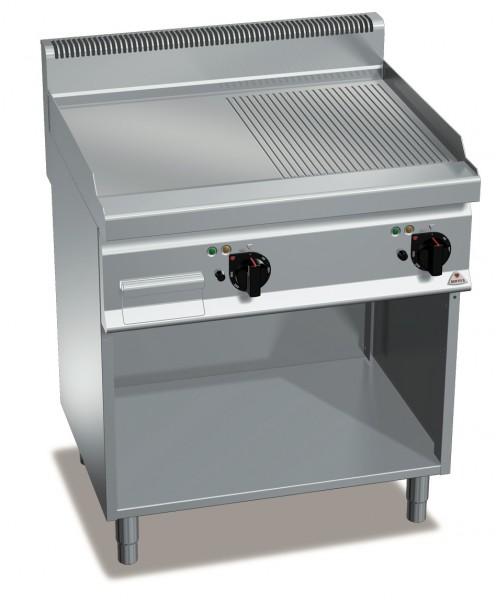 Elektrogrill mit Glatte/Gerillte Platte Standgerät 9,6kW