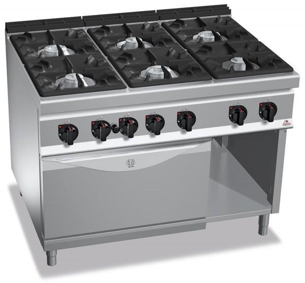 Professionelle Gastronomie Gasherd 6 Brenner mit Gasbackofen 61,5kW HIGH POWER