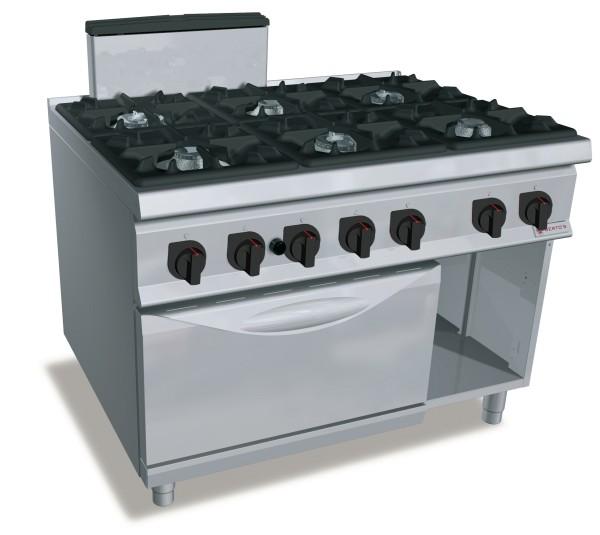 Professionelle Gastronomie Gasherd 6 Brenner mit Gasbackofen 79,8kW Serie S900