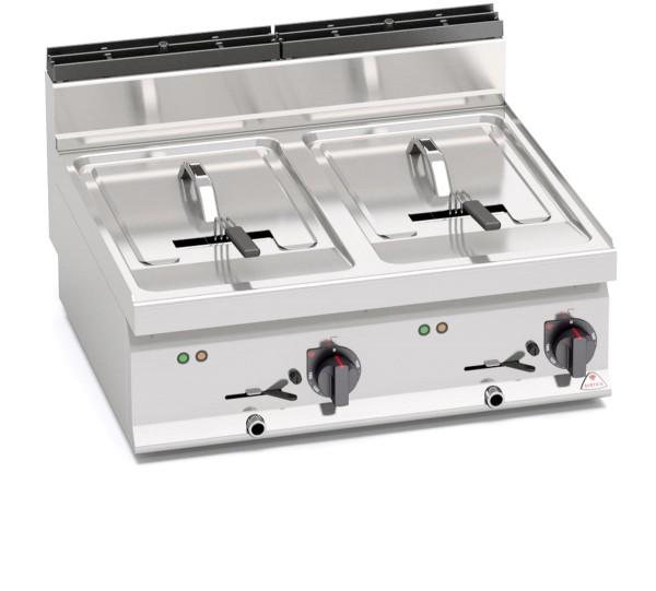 Bertos Gastronomie Elektro-Fritteuse mit 2x 10 Liter Wannen als Tischgerät 12kW