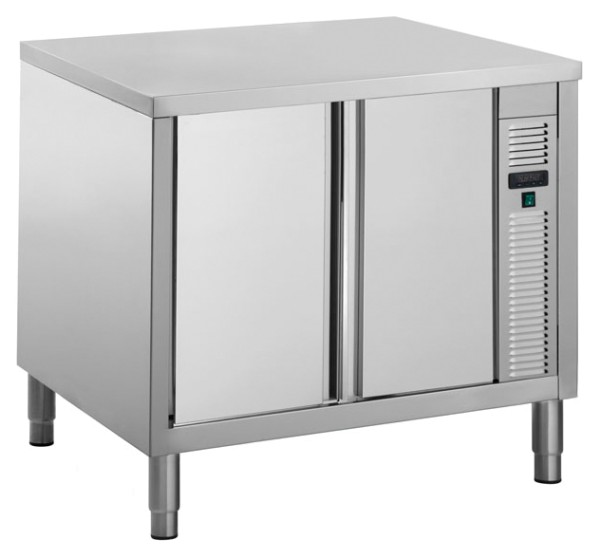 Gastro Wärmeschrank aus Edelstahl mit Schiebetüren B 1000 x T 700 x H 850 mm