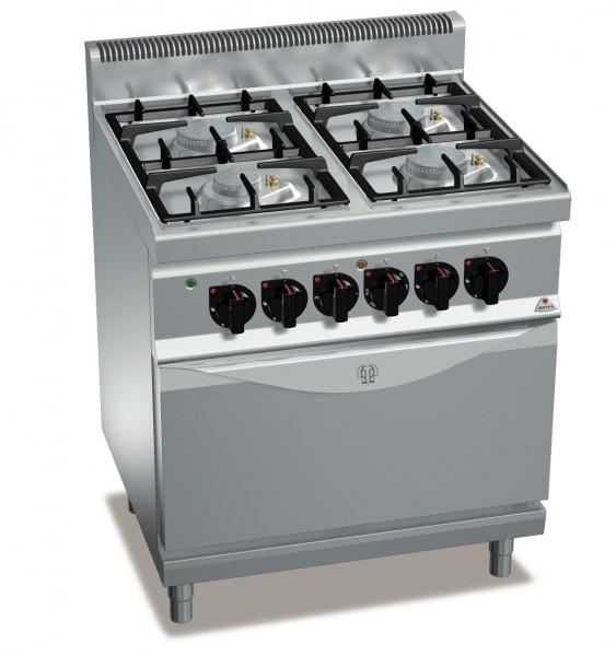 Gastronomie Gasherd mit 4 Flammen und Elektro Backofen als Standgerät
