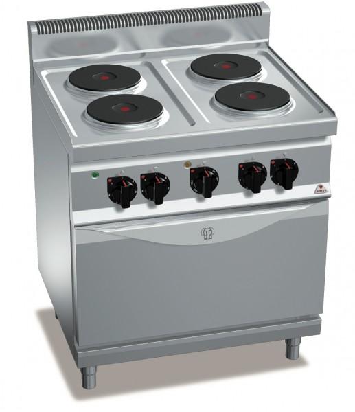 Bertos Gastro Elektroherd mit 4 Kochplatten und Umluft-Backofen bei einer Gesamtleistung 13,4kW