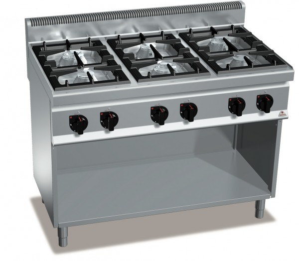 Gastronomie Gasherd 6 Flammen Standgerät offen HIGH POWER von BERTOS Leistung 31,5kW