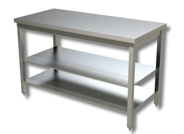 Gastro Arbeitstisch Edelstahl mit Grund- und Zwischenboden B 600 x T 700 x H 850 mm