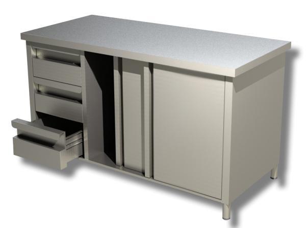 Gastro Arbeitsschrank aus Edelstahl mit 3 Schubladen rechts und Schiebetüren  B 1500 x T 600 x H 850 mm
