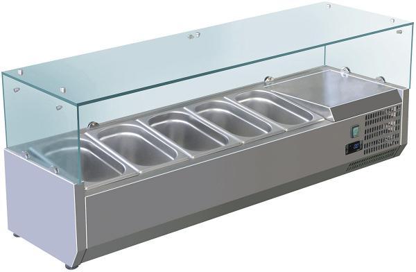 Kühlaufsatz 2000mm für 10x GN 1/4 aus Edelstahl für Pizzeria