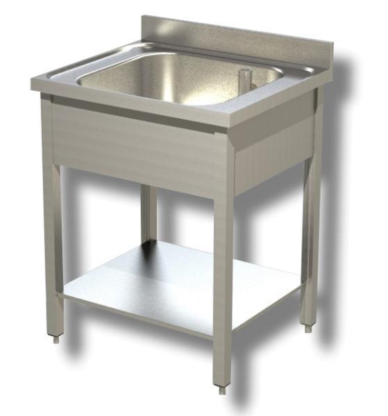 Gastro Spültisch Edelstahl 1 Becken mit Boden B 500 x T 700 x H 850 mm
