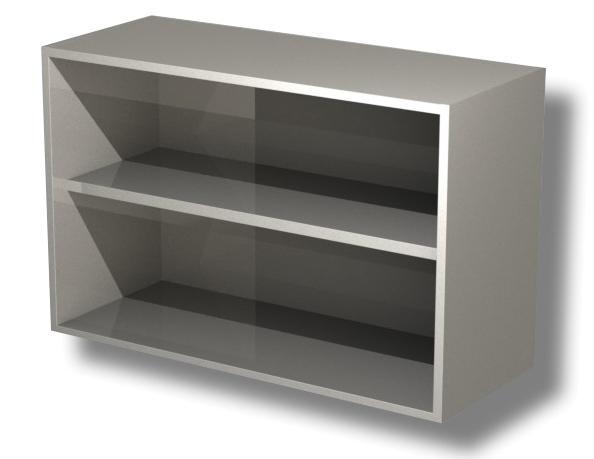 Gastro Wandhängeschrank Offen aus Edelstahl mit Zwischenboden B 1200 x T 400 x H 650 mm