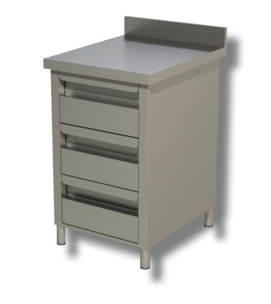 Gastro Schubladenblock  Edelstahl mit 3 Schubladen und Aufkantung B 500 x T 600 x H 850 mm