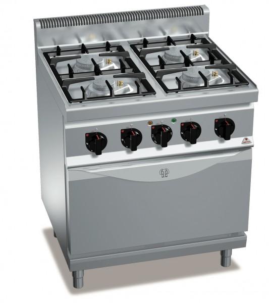 Gastro Gasherd 4 Flammen Eco-Power mit Elektro-Umluftbackofen