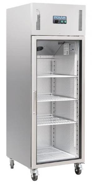 Gewerblicher Kühlschrank 600 Liter mit Glastür aus Edelstahl