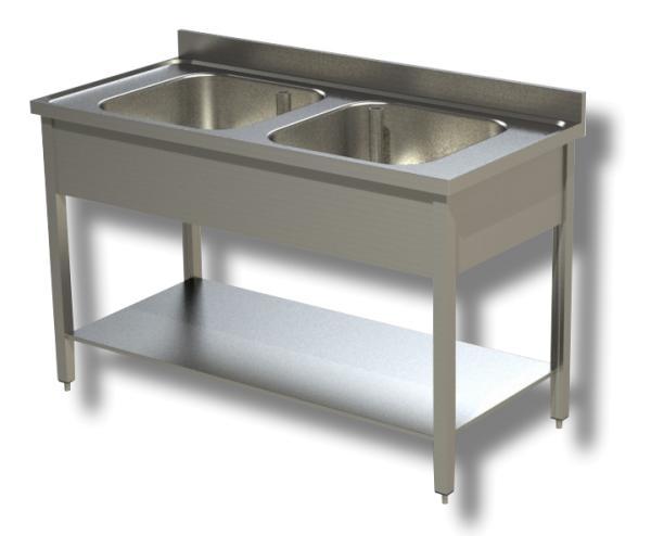Gastro Spültisch Edelstahl 2 Becken mit Boden B 1000 x T 700 x H 850 mm