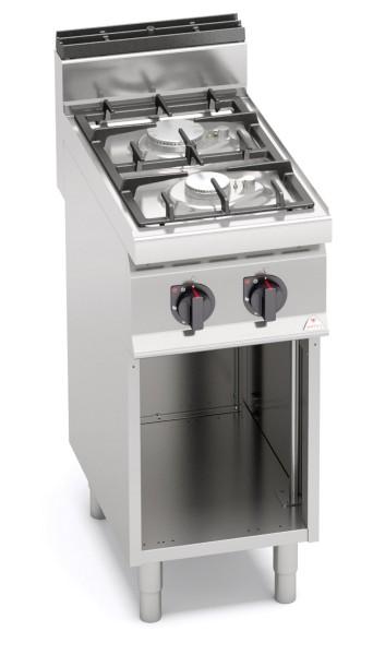 Gastro Gasherd Bertos mit mit 2 Flammen als Standgerät mit offenem Unterbau ECO POWER Leistung 9,5kW