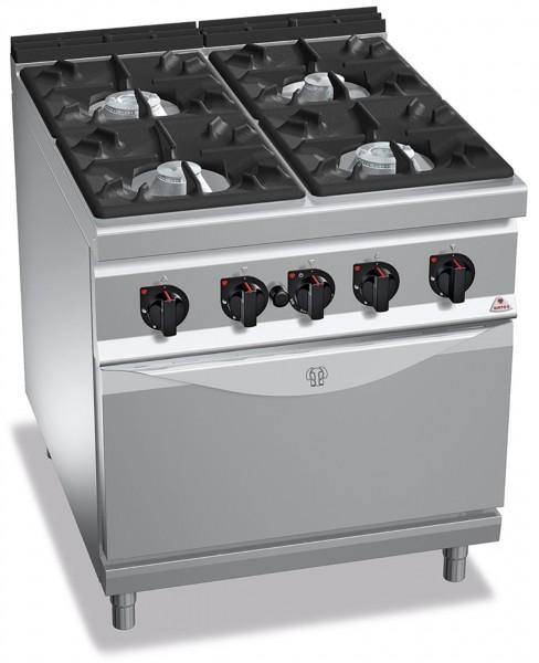 Professionelle Gastronomie Gasherd 4 Brenner mit Gasbackofen 34,5kW HIGH POWER
