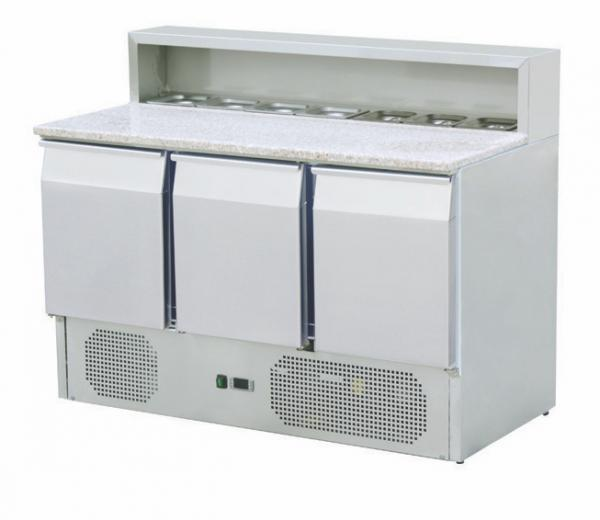 Pizza-Kühltisch 3 Türen mit Granit-Arbeitsplatte und Belegstation für 8x GN 1/6