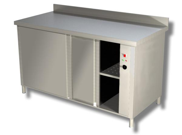 Gastro Wärmeschrank aus Edelstahl mit Schiebetüren und Aufkantung B 1400 x T 700 x H 850 mm