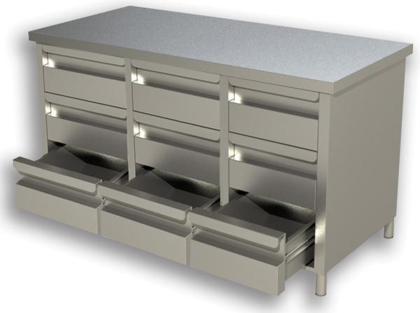 Gastro Schubladenblock Edelstahl mit 3 x 3 Schubladen B 1400 x T 600 x H 850 mm