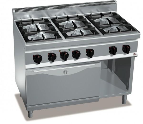 Gastronomiebedarf Gasherd mit 6 Flammen und Elektro Backofen High-Power Gasleistung 31,5kW